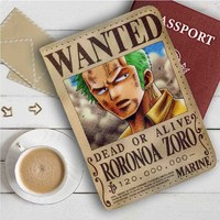 Roronoa Zoro One Piece Wanted Leather Passport Wallet Case Cover