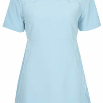 PETITE Scallop Trim Shift Dress - Light Blue