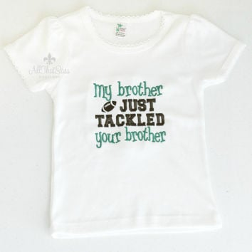 Girls Football Brother Tee Shirt - Sports - Siblings - Sister - Football Game - Cheer - Little League - Pee Wee