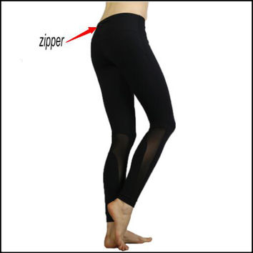 2016 Women Net yarn splicing New yogaes sexy Lulu pencil pants waist zipper leggings capris for Female Sweatpants Trousers