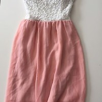 Love Culture White Lace Pink Chiffon Strapless Dress Size XS