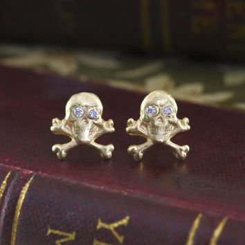 Skull & Crossbones Studs, 14k Gold and Diamond Skull Stud Earrings, Memento Mori Gothic Delicate Jewelry