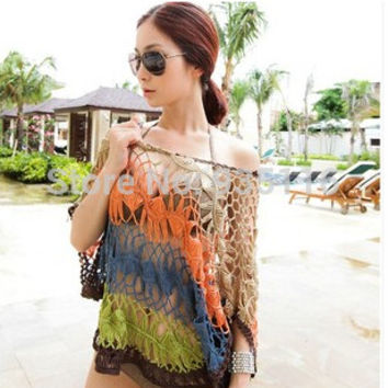 Sexy Crochet Beach Cover Up Hollow Out Swimwear Women Beachwear  Summer Bathing Cover-ups Beach Dresses  Pareo