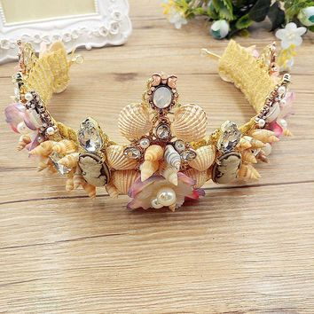 Sea Shell Rhinestones Mermaid Tiara