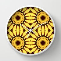Yellow & Brown Autumn Pinwheel Flowers Wall Clock by 2sweet4words Designs | Society6