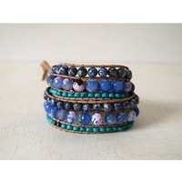 Turquoise, Agate, Shell, Wide 2 Wrap Unisex Bracelet On Beige Leather