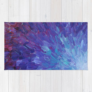 SCALES OF A DIFFERENT COLOR - Abstract Acrylic Painting Eggplant Sea Scales Ocean Waves Colorful Rug by EbiEmporium