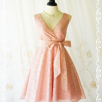 My Lady II - Pink Nude Lace Dress Vintage Design Spring Summer Sundress Pink Lace Party Tea Dress Bridesmaid Dress Lace Summer Dress XS-XL