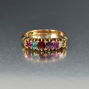 15K Gold Antique Acrostic Regard Ring