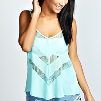 Madison Lace Insert swing Chiffon Cami