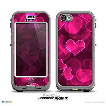 The Glowing Pink Outlined Hearts Skin for the iPhone 5c nüüd LifeProof Case