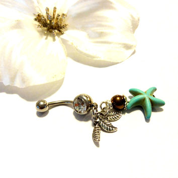 Starfish Dangle Belly Button Ring
