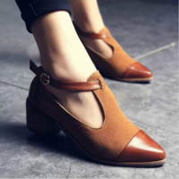British Style Low Heels Patchwork Buckle Oxford Shoes Casual Vintage Shoes Fashion