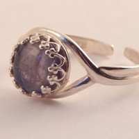 Lovely Iolite and Sterling Silver Adjustable Creativity Ring