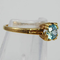 10K Gold Ring, Solitare Blue Zircon Gemstone, Size 5 US, Vintage 1930s Art Deco Era, Yellow Gold Pinky Ring, September Birthstone Jewelry