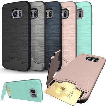 for Samsung Galaxy A3 A5 A7 2017 Coque Stand Luxury Hybrid Credit Card pocket Hidden pouch for S7 edge S9 S8 A8 Plus 2018 case