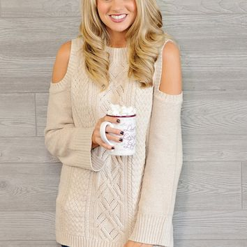 * McKenly Cold Shoulder Cozy Sweater : Oatmeal