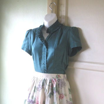 1980s Vintage Teal Silk Top - Green-Blue Top with Short Sleeves & Front Ruffle - Silk Blend Teal Blouse; Medium Wear-to-Work Top