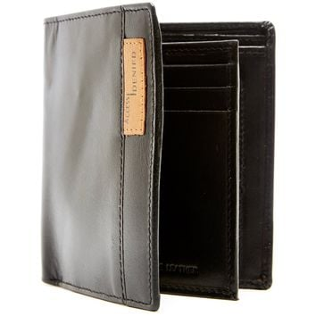 Genuine Leather Bifold Wallet With 2 ID Window Flaps