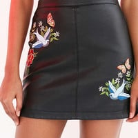 Silence + Noise Embroidered Vegan Leather Mini Skirt - Urban Outfitters