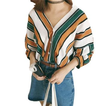 Japanese Kawaii Casual Three Quarter Bat Sleeves Cardigan Shirts Autumn Summer Women Cute Striped Harajuku Blouse Shirt Tops