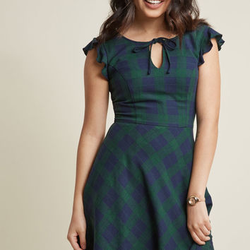 Authentic Intellectual A-Line Dress in Forest