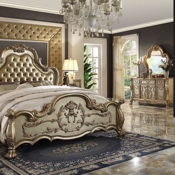 5 pc dresden ii collection gold patina finish wood queen bedroom set with tufted upholstery