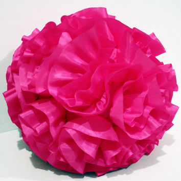 pink pillow baby pillow soft ball ruffled fabric pouf christmas ball baby decor