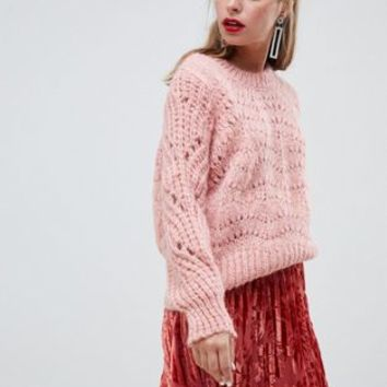 River Island Petite stitch sweater in pink at asos.com