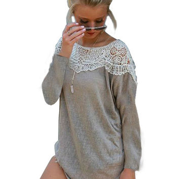Gray Lace Stitching Long Sleeve Asymmetrical Mini Dress