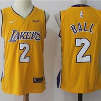 Best Sale Online Nike NBA Basketball Jersey Los Angeles Lakers # 2 Lonzo Ball yellow N