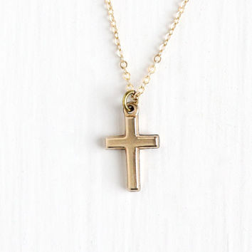 Antique Rosy Yellow Gold Filled Cross Necklace - Dainty Edwardian Early 1900s Era Crucifix Religious Faith Pendant Charm Chain Jewelry
