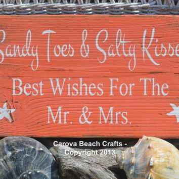 Beach Wedding Sign - Beach Sign - Beach Wedding - Guest Book - Coastal Wedding Decor - Sandy Toes Salty Kisses - Painted, No Vinyl - Rustic