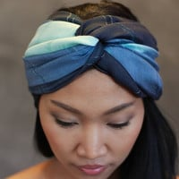 Blue Scarf - Silk Cotton Scarf - Hand Dyed Scarf, infinity, blue shawl, wrap, headband, perfect birthday present - JooJoobs