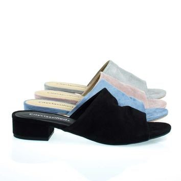 Kench Black By City Classified, Low Chunky Block Heel Mule / Slipper Sandals, Women Open Toe Slides