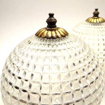 Vintage Glass Globes Hollywood Regency Deco Revival Light Fixture Shades