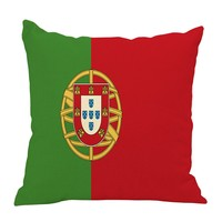 BXI 18 X 18 Inches Cotton Linen Pillow Case Cushion Cover Square Flag Decorative Throw Pillow Case Portugal
