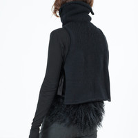 Feathered Tank Sweater in Black