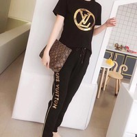 """""""LOUIS VUITTON"""" Women Casual Fashion Sequin Letter Printing  Short Sleeve Trousers Set Two-Piece Sportswear"""