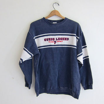 vintage GUESS sweatshirt. washed out blue pullover sweater.
