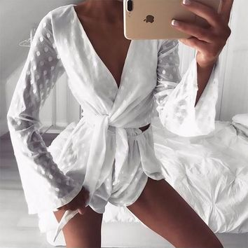 White Polka Dot Print Lace-up V-neck Flare Sleeve Short Jumpsuit