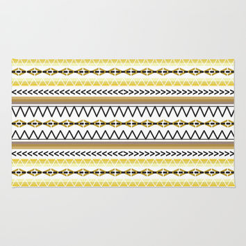 Tribal Gold Area & Throw Rug by Plume