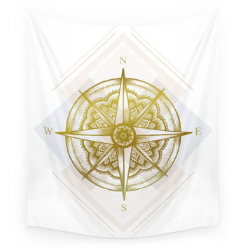 Society6 Golden Compass Wall Tapestry