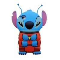Disney 3D Alien Stitch Movable Ear Flip Hard Case Cover with 2 Antenna for Iphone 4g/4gs Xmas Gift