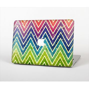 The Grunge Vibrant Green and Neon Chevron Pattern Skin Set for the Apple MacBook Air 13""