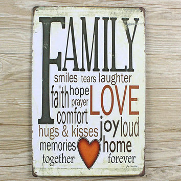 "New arrival ""FAMYLY LOVE"" Tin plate signs movie poster Art Cafe Bar Vintage Metal Painting wall stickers home decor 20X30 CM"