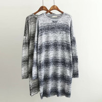 Block Long Sleeve Knitted Dress Sweater