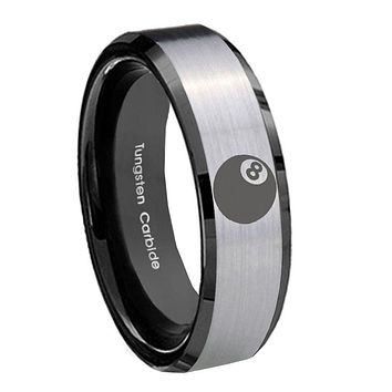 10mm 8 Ball Beveled Edges Brushed Silver Black Tungsten Mens Engagement Ring