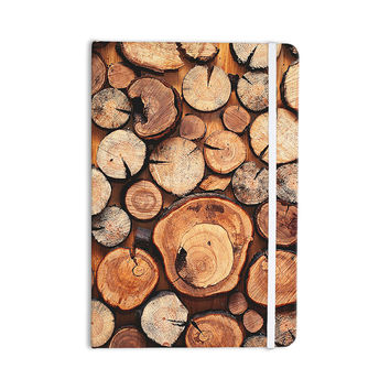 "Susan Sanders ""Rustic Wood Logs"" Brown Tan Everything Notebook"