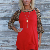 Crazy For Leopard Print Ruffle Sleeve Tunic ~ Red ~ Sizes 4-10